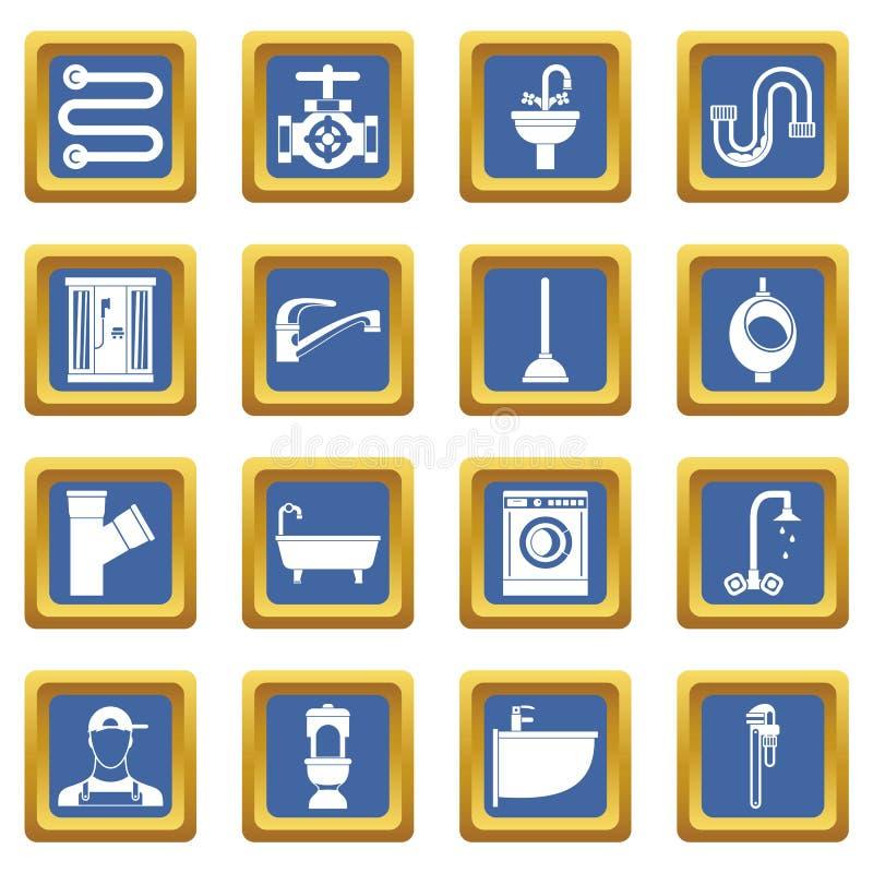 Εικονίδια υδραυλικών καθορισμένα μπλε ελεύθερη απεικόνιση δικαιώματος