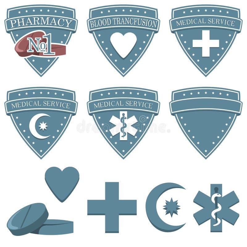 Εικονίδια φαρμακείων ιατρικής υγείας καθορισμένα Επίπεδα σύμβολα διακριτικών της ιατρικής στοκ εικόνες