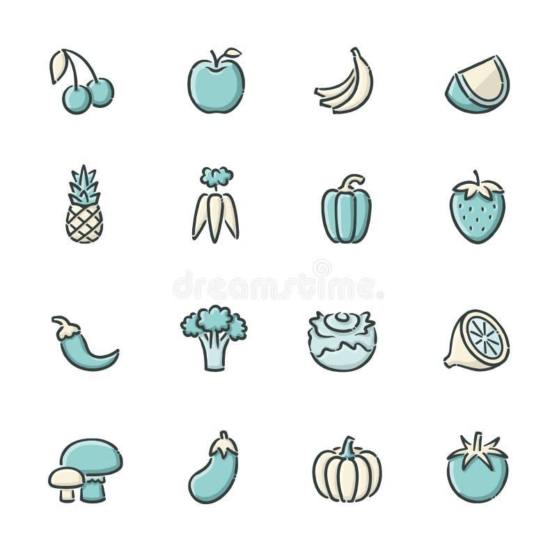 Εικονίδια φρούτων και λαχανικών ελεύθερη απεικόνιση δικαιώματος