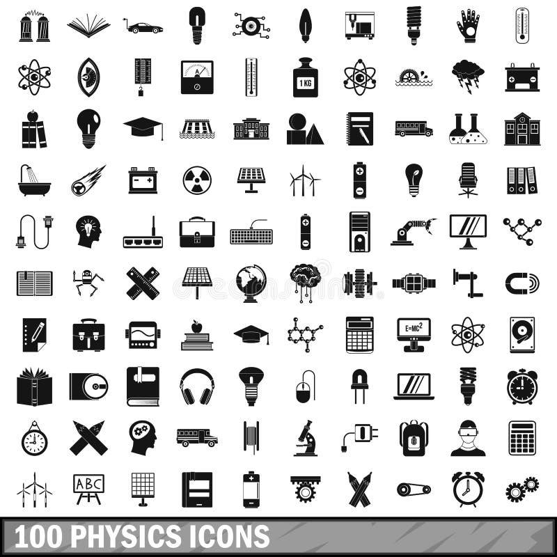 100 εικονίδια φυσικής καθορισμένα, απλό ύφος ελεύθερη απεικόνιση δικαιώματος