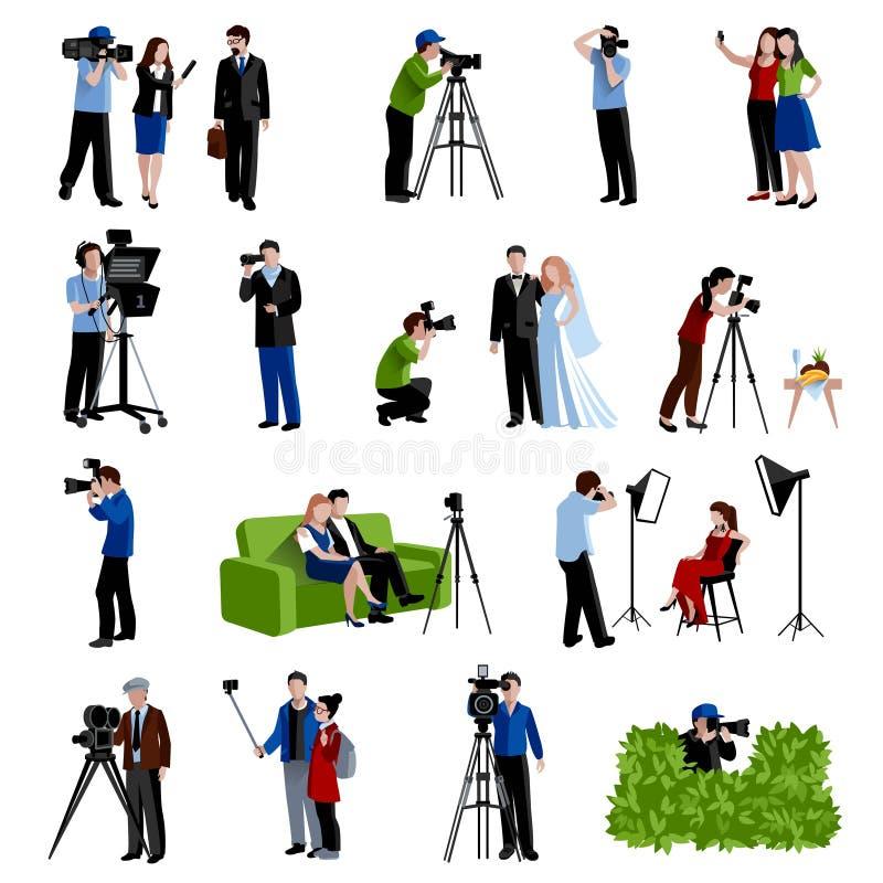 Εικονίδια φωτογράφων και Videographer καθορισμένα διανυσματική απεικόνιση