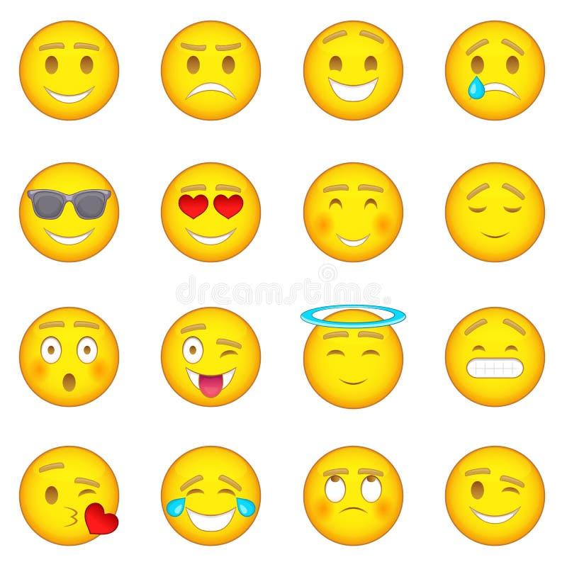 Εικονίδια χαμόγελων καθορισμένα, ύφος κινούμενων σχεδίων ελεύθερη απεικόνιση δικαιώματος