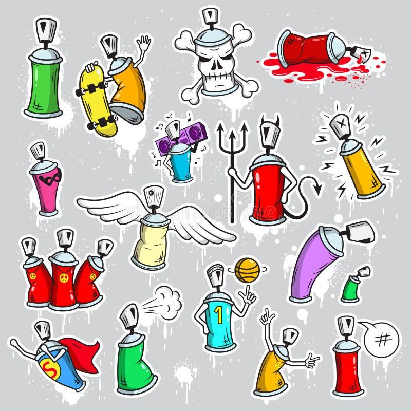 Εικονίδια χαρακτήρων γκράφιτι καθορισμένα ελεύθερη απεικόνιση δικαιώματος