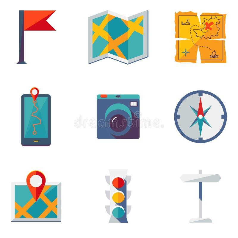 Εικονίδια χαρτών και θέσης καθορισμένα απεικόνιση αποθεμάτων