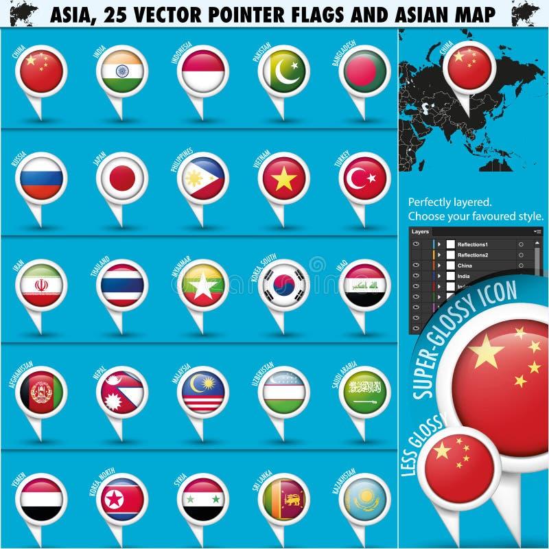 Εικονίδια χαρτών της Ασίας και δεικτών σημαιών set1 απεικόνιση αποθεμάτων