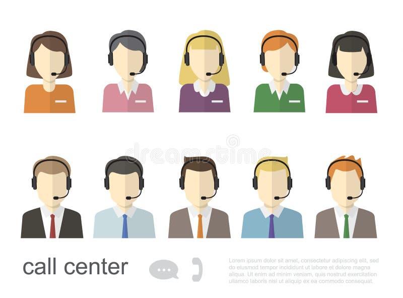 Εικονίδια χειριστών τηλεφωνικών κέντρων Διανυσματική επίπεδη απεικόνιση ελεύθερη απεικόνιση δικαιώματος
