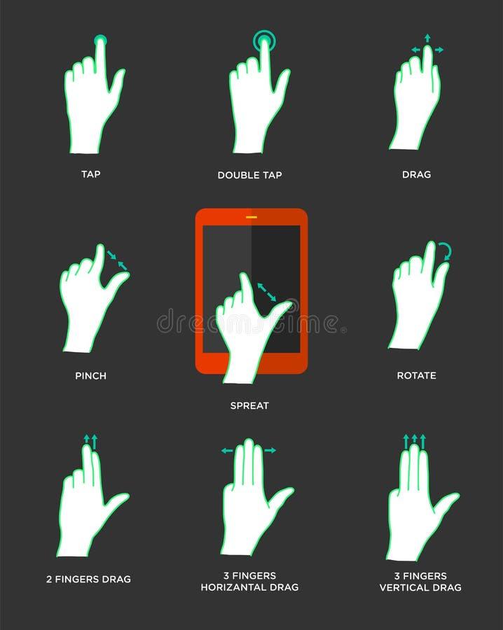 Εικονίδια χειρονομίας για τις συσκευές αφής ελεύθερη απεικόνιση δικαιώματος