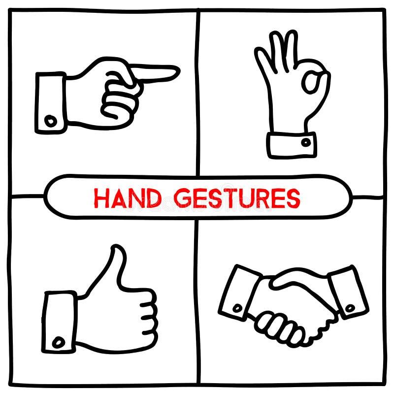 Εικονίδια χειρονομιών Doodle καθορισμένα ελεύθερη απεικόνιση δικαιώματος