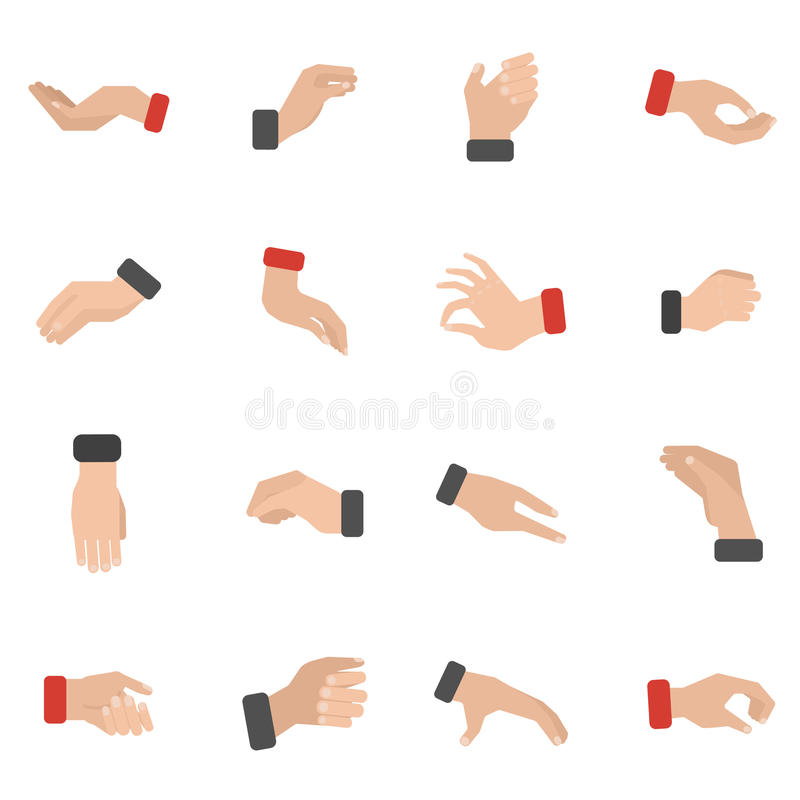 Εικονίδια χεριών αρπαγής καθορισμένα απεικόνιση αποθεμάτων