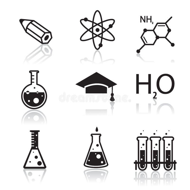 Εικονίδια χημείας για τις εφαρμογές εκμάθησης και Ιστού διανυσματική απεικόνιση