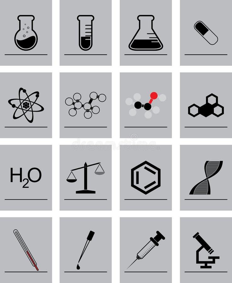 Εικονίδια χημείας ελεύθερη απεικόνιση δικαιώματος