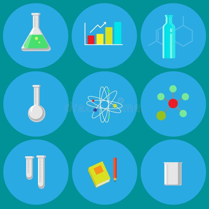 Εικονίδια χημείας διανυσματική απεικόνιση