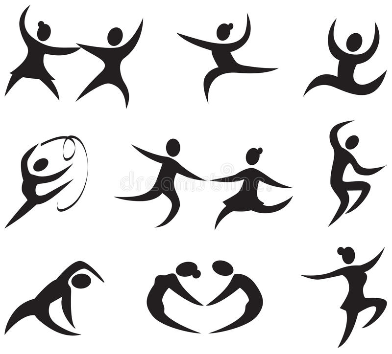 Εικονίδια χορού ελεύθερη απεικόνιση δικαιώματος