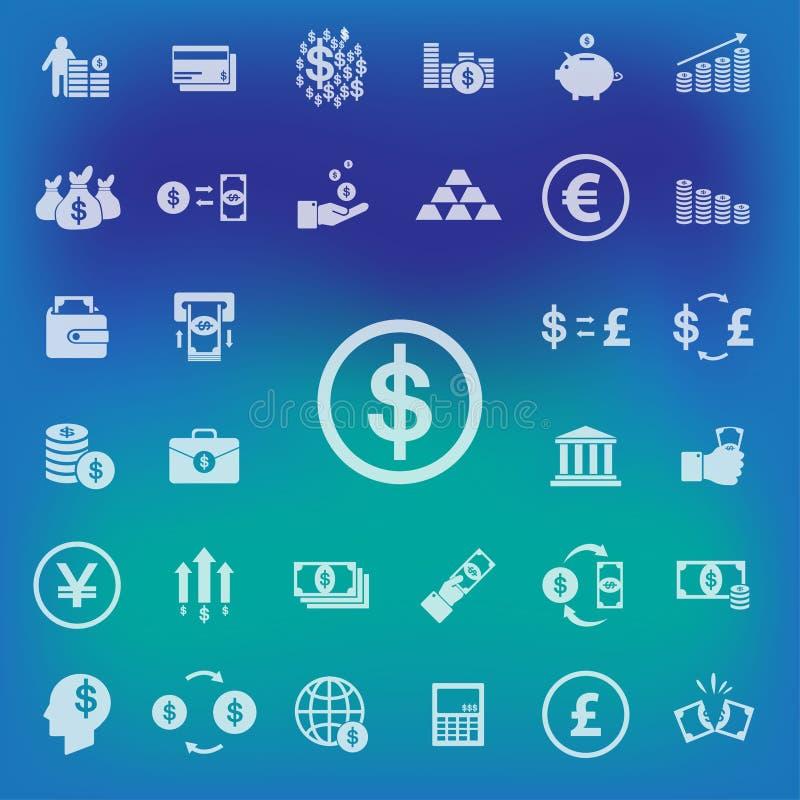 Εικονίδια χρημάτων που τίθενται στο υπόβαθρο θαμπάδων διάνυσμα απεικόνιση απεικόνιση αποθεμάτων