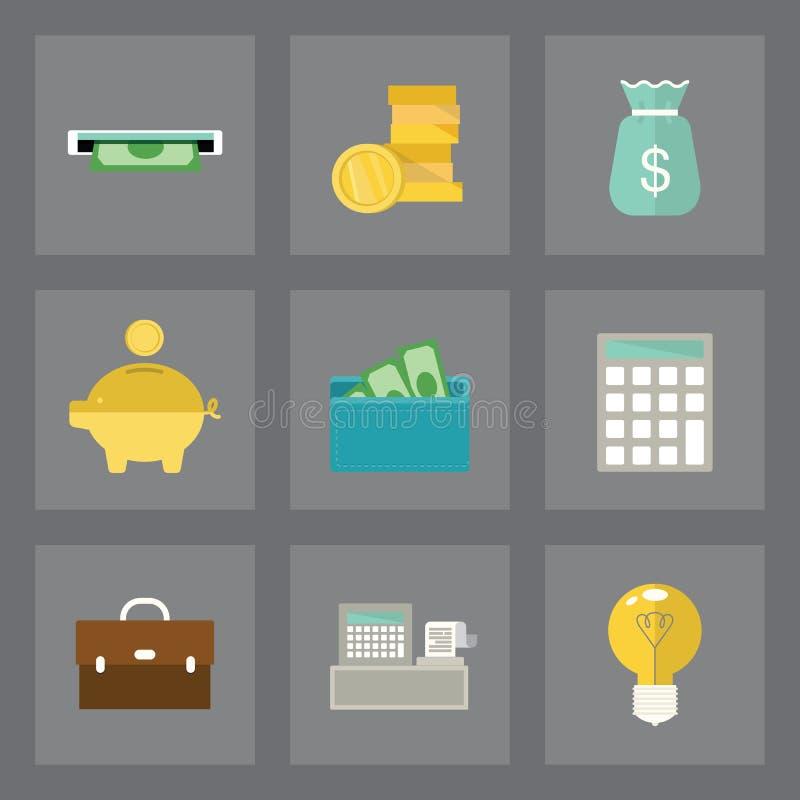 Εικονίδια χρηματοδότησης καθορισμένα διανυσματική απεικόνιση