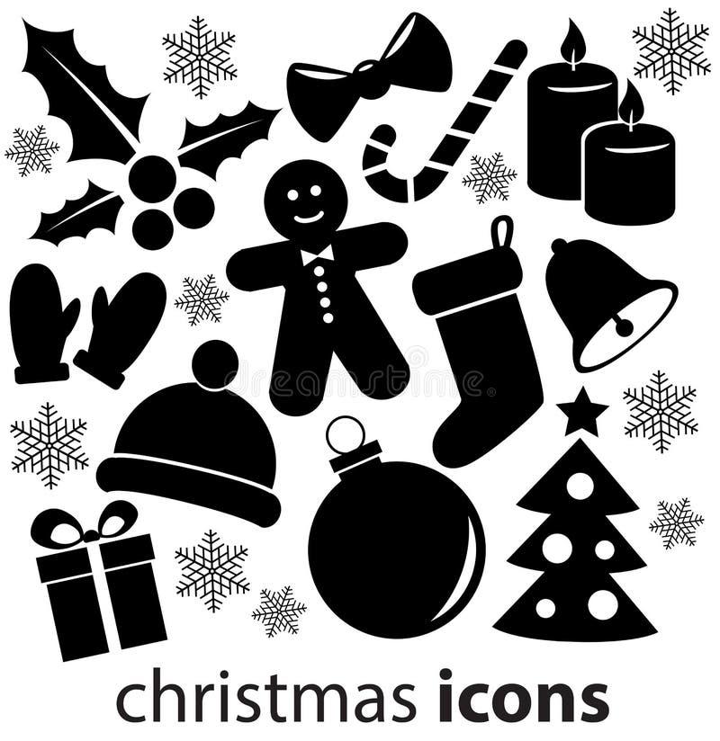 Εικονίδια Χριστουγέννων που απομονώνονται στην άσπρη ανασκόπηση διανυσματική απεικόνιση