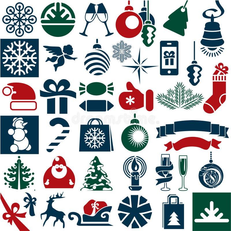 Εικονίδια Χριστουγέννων διανυσματική απεικόνιση
