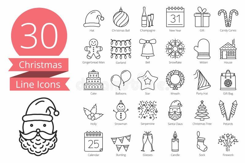 30 εικονίδια Χριστουγέννων ελεύθερη απεικόνιση δικαιώματος