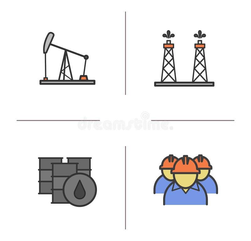 Εικονίδια χρώματος βιομηχανίας πετρελαίου καθορισμένα ελεύθερη απεικόνιση δικαιώματος