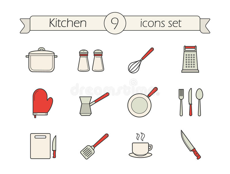 Εικονίδια χρώματος εργαλείων κουζινών καθορισμένα απεικόνιση αποθεμάτων