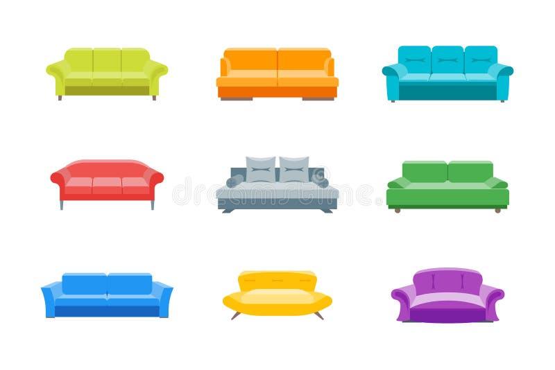 Εικονίδια χρώματος καναπέδων ή ντιβανιών κινούμενων σχεδίων καθορισμένα διάνυσμα διανυσματική απεικόνιση