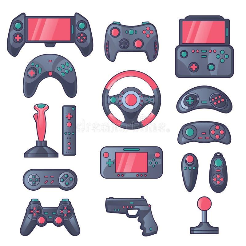 Εικονίδια χρώματος συσκευών παιχνιδιών καθορισμένα διανυσματική απεικόνιση