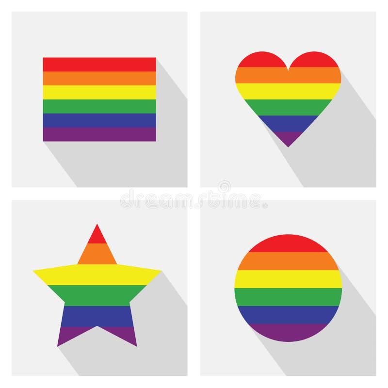 Εικονίδια χρώματος λωρίδων σημαιών υπερηφάνειας καθορισμένα διανυσματική απεικόνιση