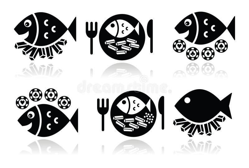 Εικονίδια ψαριών και τσιπ καθορισμένα ελεύθερη απεικόνιση δικαιώματος