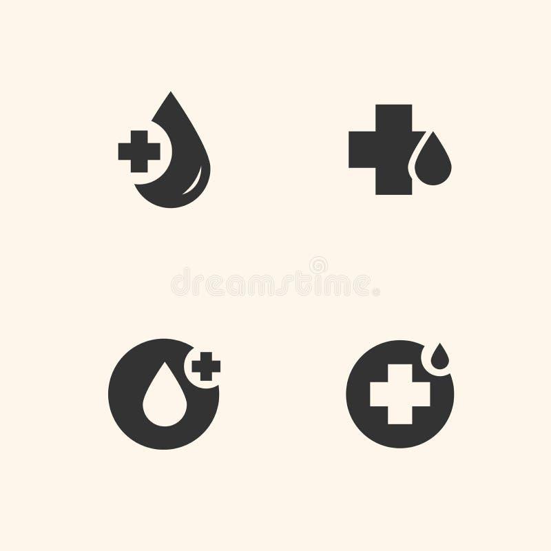 Εικονίδια δωρεάς αίματος καθορισμένα στοκ εικόνες