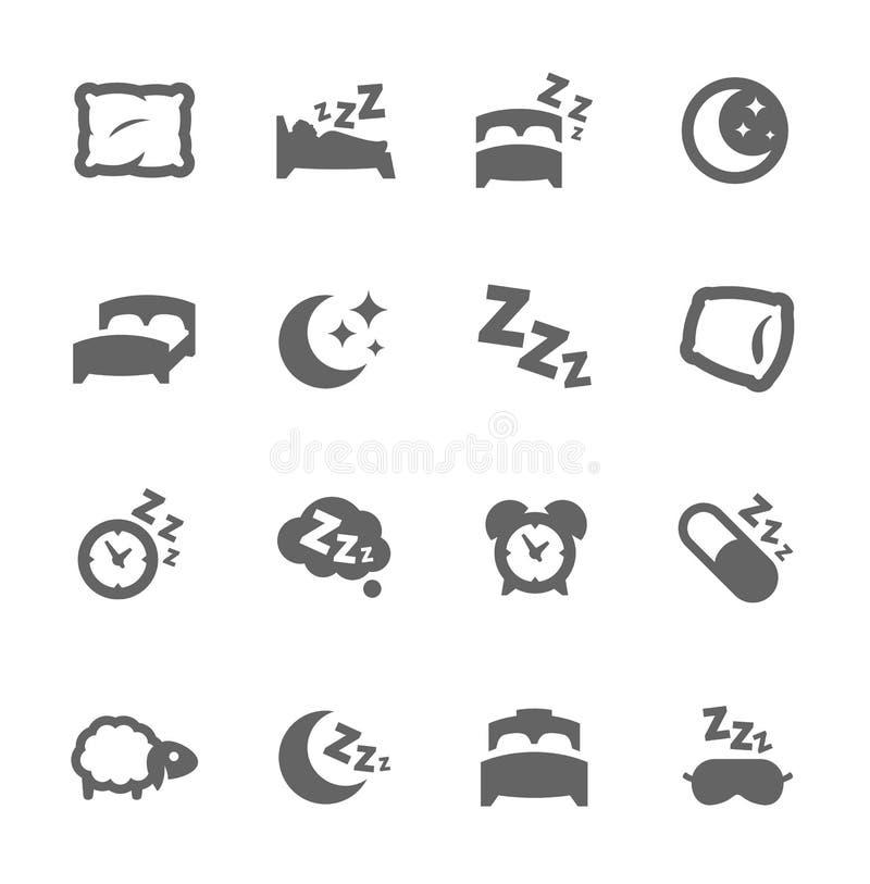 Εικονίδια ύπνου καλά διανυσματική απεικόνιση