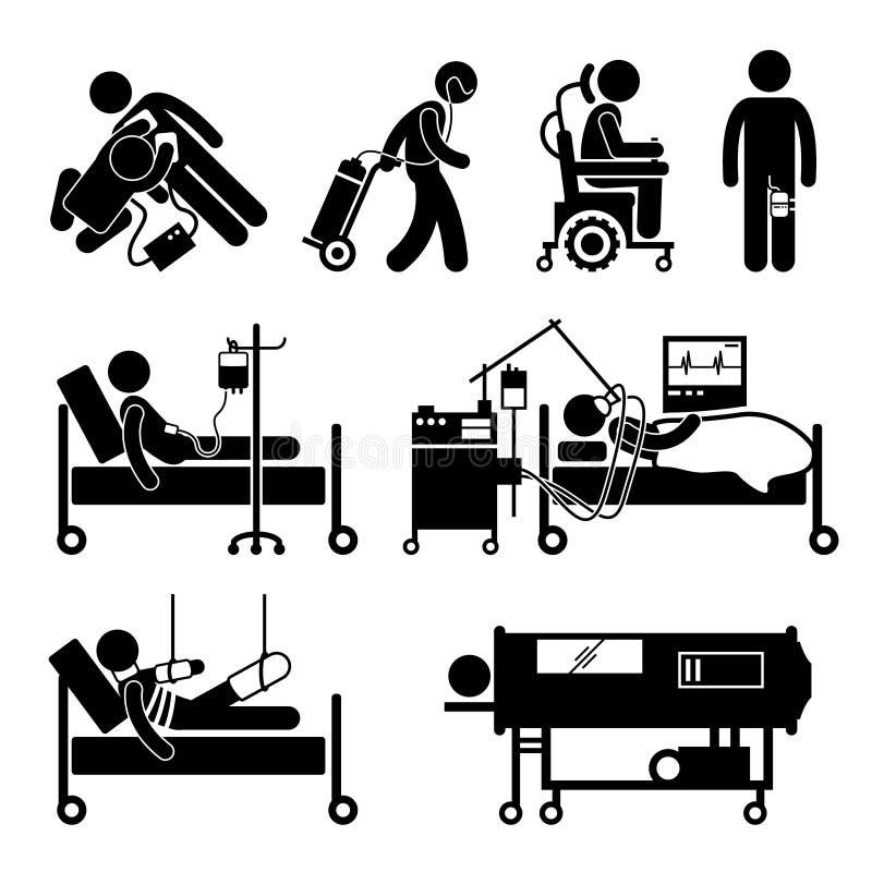 Εικονίδια Cliparts εξοπλισμών εντατικής θεραπείας απεικόνιση αποθεμάτων