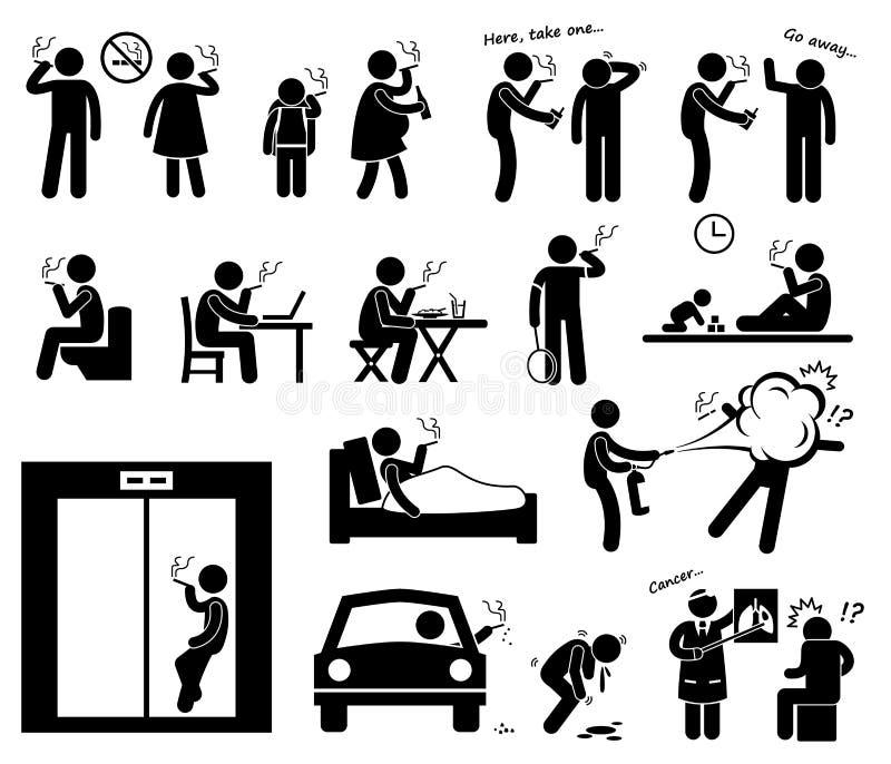 Εικονίδια Cliparts καπνιστών ελεύθερη απεικόνιση δικαιώματος