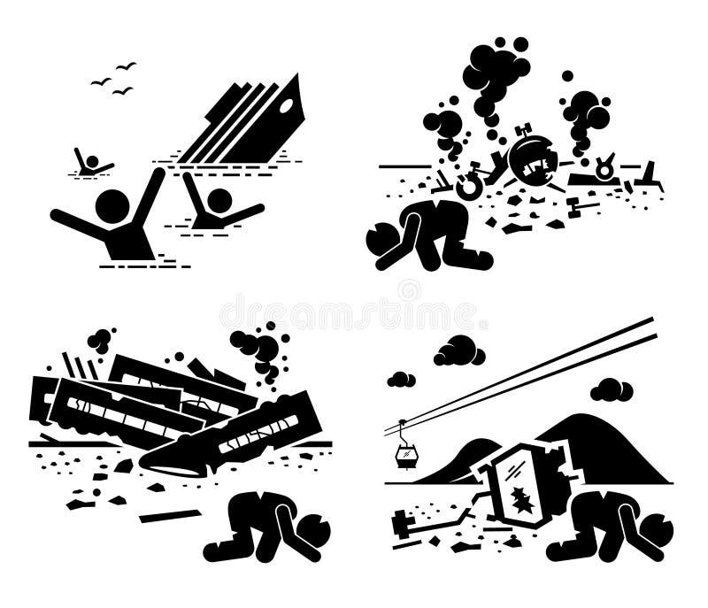 Εικονίδια Cliparts τελεφερίκ τραίνων αεροπλάνων σκαφών τραγωδίας ατυχήματος καταστροφής διανυσματική απεικόνιση