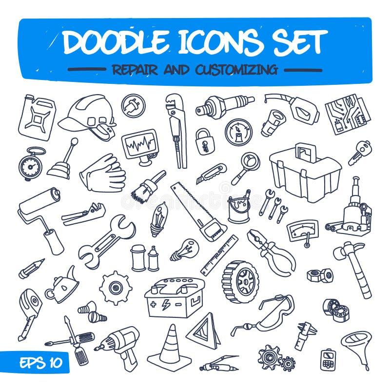 Εικονίδια Doodle καθορισμένα - επισκευή και προσαρμογή απεικόνιση αποθεμάτων