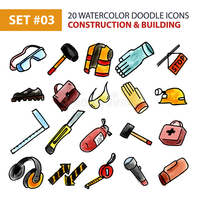 Εικονίδια Doodle καθορισμένα - κατασκευή και οικοδόμηση απεικόνιση αποθεμάτων