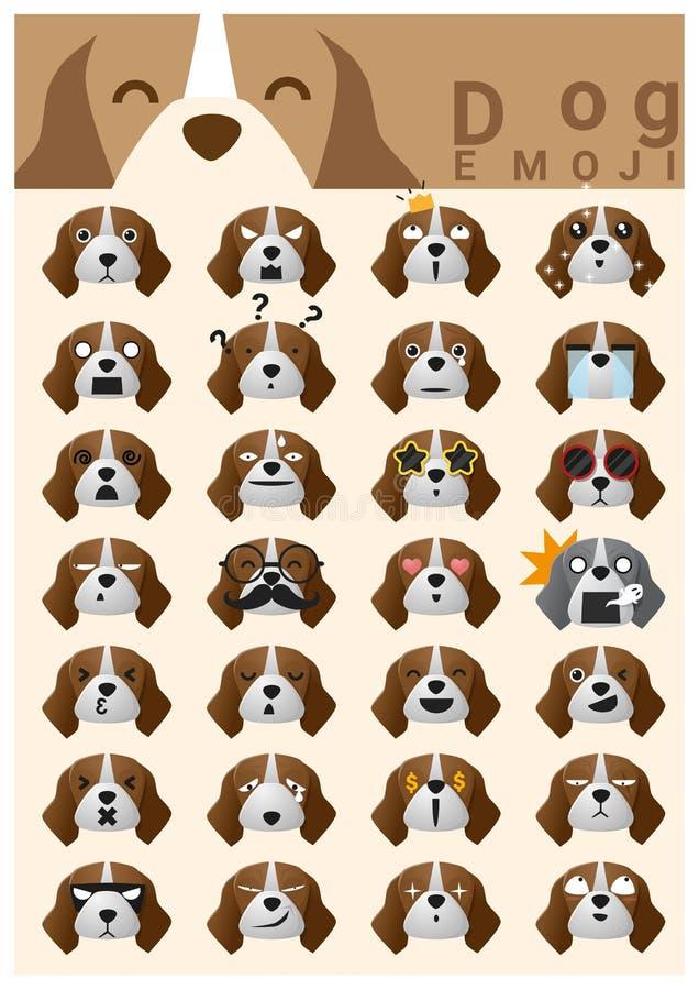 Εικονίδια emoji σκυλιών διανυσματική απεικόνιση