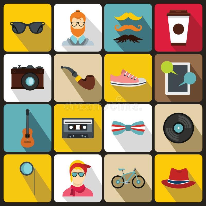 Εικονίδια Hipster που τίθενται στο επίπεδο ύφος ελεύθερη απεικόνιση δικαιώματος