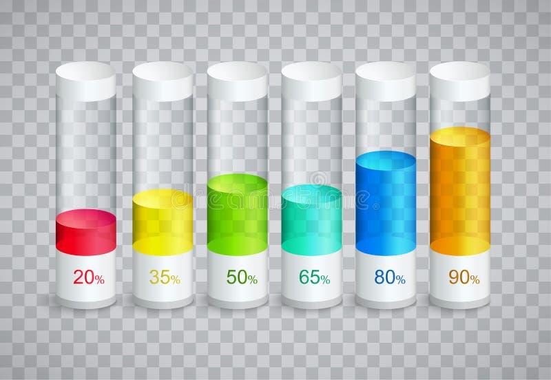 Εικονίδια Infographic με 6 μέρη των στηλών σε ποσοστό της αύξησης διανυσματική απεικόνιση