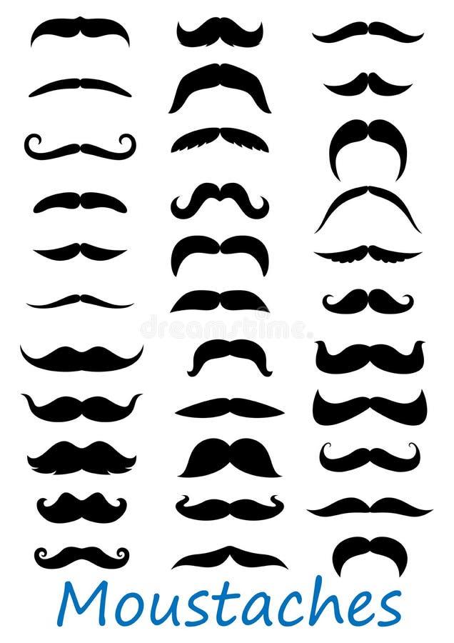 Εικονίδια Moustache καθορισμένα διανυσματική απεικόνιση