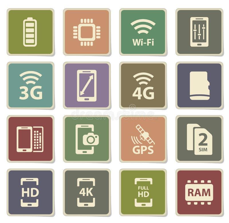 Εικονίδια Smarthone specs απλά απεικόνιση αποθεμάτων