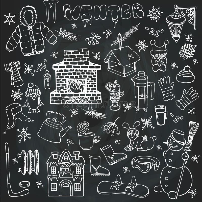 Εικονίδια Winteer doodle, στοιχεία καθορισμένα γραμμικός chalkboard διανυσματική απεικόνιση