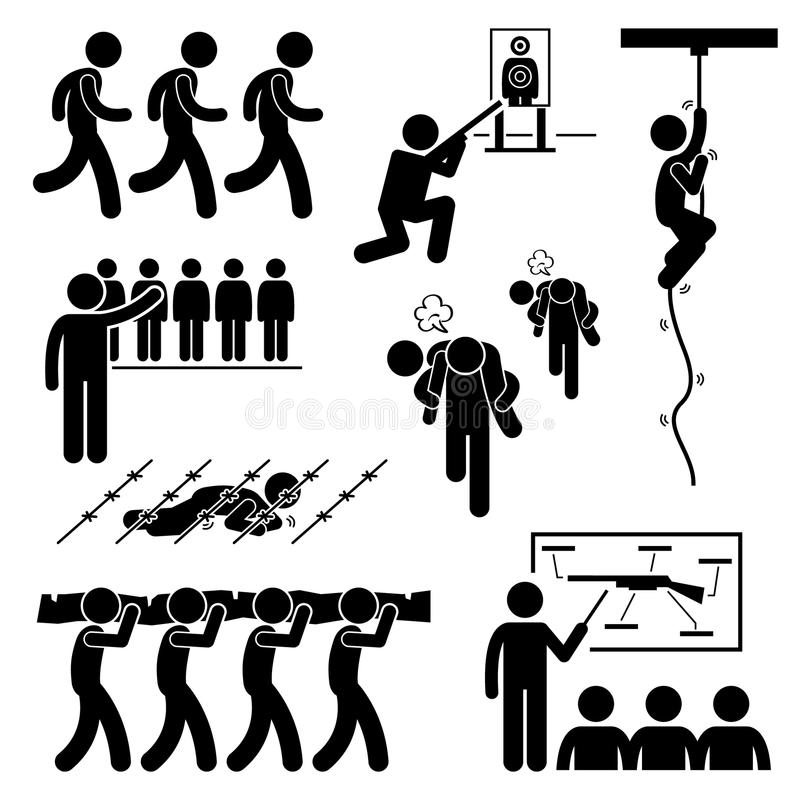 Εικονίδια Workout Cliparts στρατιωτικής εκπαίδευσης στρατιωτών απεικόνιση αποθεμάτων