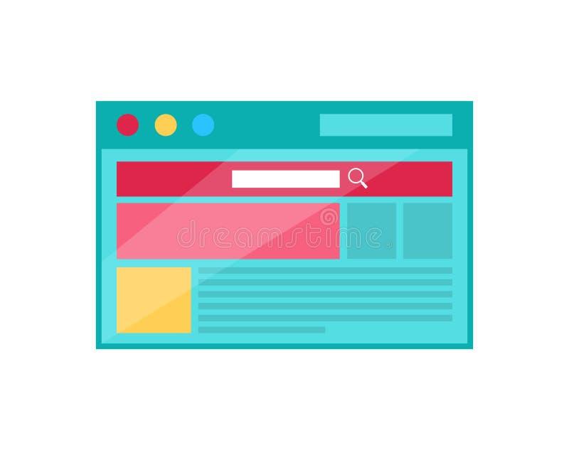 Εικονίδιο έννοιας σελίδων μηχανών αναζήτησης στο επίπεδο σχέδιο ύφους απεικόνιση αποθεμάτων