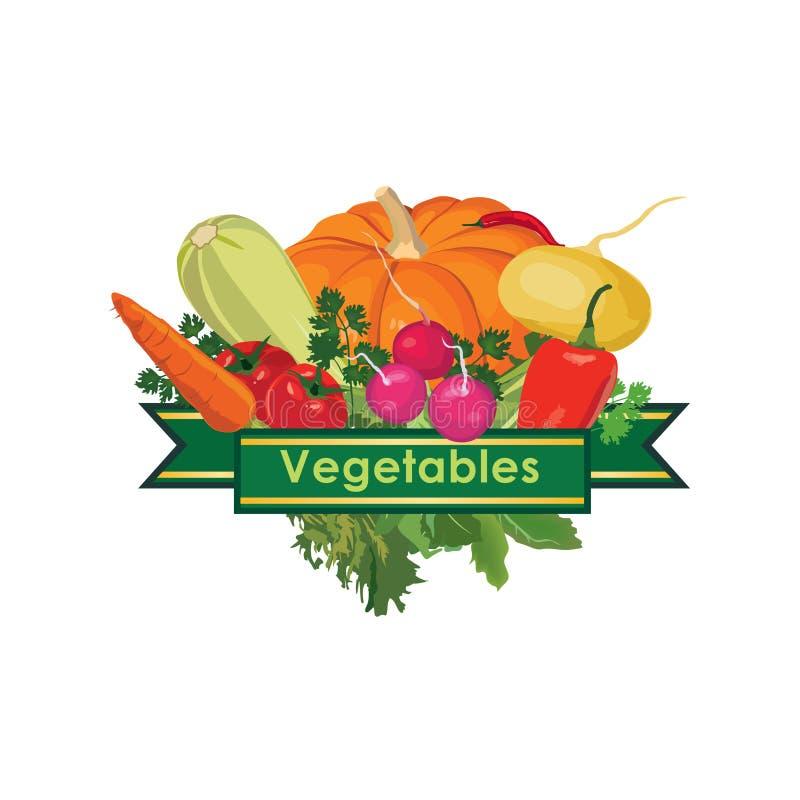 Εικονίδιο έννοιας σχεδίου φρέσκων λαχανικών διανυσματική απεικόνιση