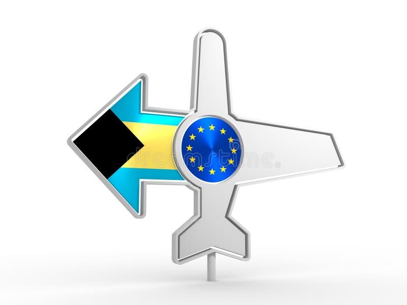Εικονίδιο αεροπλάνων και βέλος προορισμού ελεύθερη απεικόνιση δικαιώματος