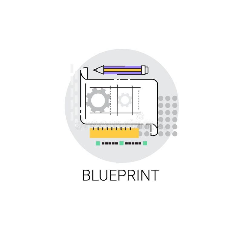 Εικονίδιο ανάπτυξης σχεδίου αρχιτεκτονικής σχεδιαγραμμάτων απεικόνιση αποθεμάτων