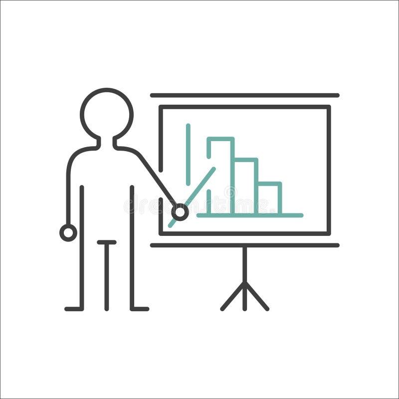 Εικονίδιο δασκάλων σημαδιών παρουσίασης που στέκεται με τη διανυσματική απεικόνιση γραμμών δεικτών διανυσματική απεικόνιση