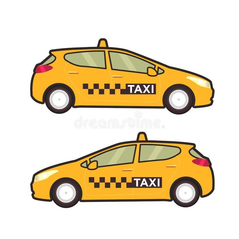 Εικονίδιο αυτοκινήτων ταξί Διανυσματική επίπεδη απεικόνιση γραμμών λαϊκό ύφος τέχνης ελεύθερη απεικόνιση δικαιώματος