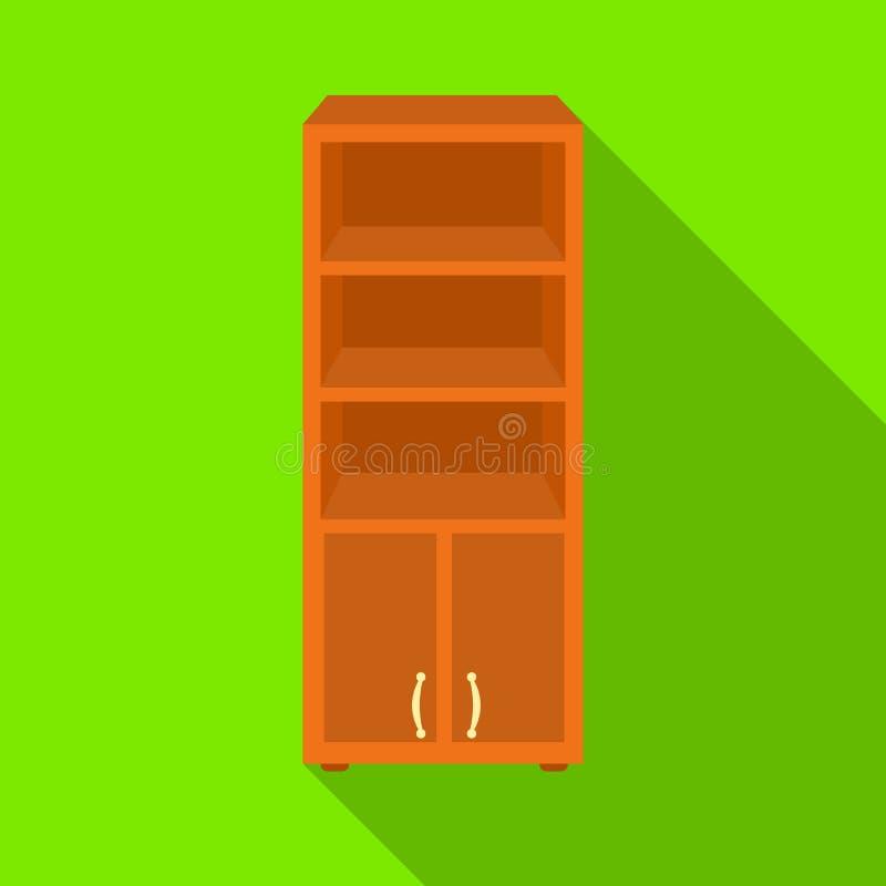 Εικονίδιο βιβλιοθηκών γραφείων στο επίπεδο ύφος που απομονώνεται στο άσπρο υπόβαθρο Επίπλωση γραφείων και εσωτερικό διάνυσμα αποθ διανυσματική απεικόνιση