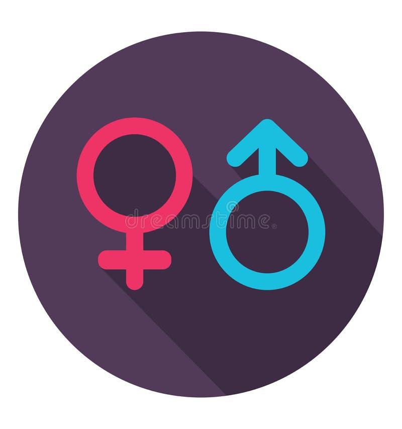 Εικονίδιο γένους στο καθιερώνον τη μόδα επίπεδο ύφος Σύμβολα των ανδρών και των γυναικών απεικόνιση αποθεμάτων